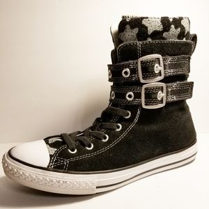 Converse Black Faux Suede High Tops, Size 6 Youth